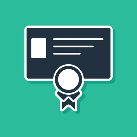 Blue Certificate template icon isolated on green background. Achievement, award, degree, grant, diploma concepts. Business success certificate. Vector Illustration