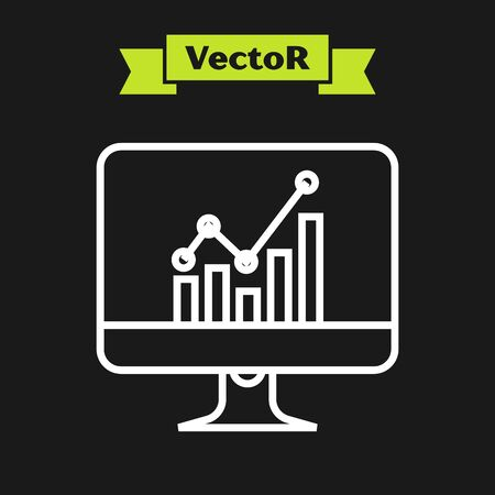 Illustration for White line Computer monitor with graph chart icon isolated on black background. Report text file icon. Accounting sign. Audit, analysis, planning. Vector Illustration - Royalty Free Image