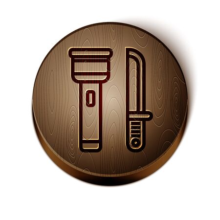Brown line Flashlight and knife icon isolated on white background. Wooden circle button. Vector Illustration