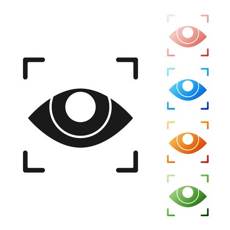 Illustration pour Black Eye scan icon isolated on white background. Scanning eye. Security check symbol. Cyber eye sign. Set icons colorful. Vector Illustration - image libre de droit