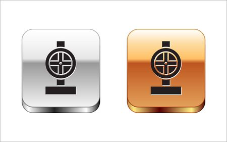 Illustration pour Black Industry metallic pipes and valve icon isolated on white background. Silver-gold square button. Vector Illustration - image libre de droit