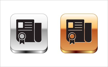 Black Certificate template icon isolated on white background. Achievement, award, degree, grant, diploma. Business success certificate. Silver-gold square button. Vector Illustration