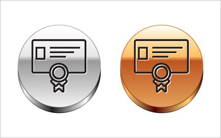 Black line Certificate template icon isolated on white background. Achievement, award, degree, grant, diploma concepts. Business success certificate. Silver-gold circle button. Vector Illustration