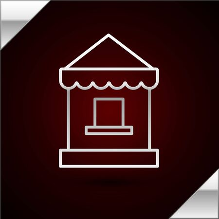 Silver line Ticket box office icon isolated on dark red background. Ticket booth for the sale of tickets for attractions and sports. Vector Illustration