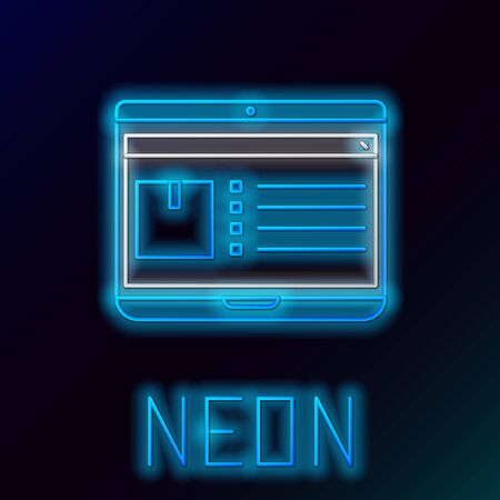 Illustration pour Blue glowing neon line Laptop with app delivery tracking icon isolated on black background. Parcel tracking. Colorful outline concept. Vector Illustration - image libre de droit