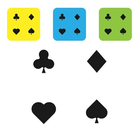 Illustration for Black Playing cards icon isolated on white background. Casino gambling. Set icons colorful square buttons. Vector Illustration - Royalty Free Image