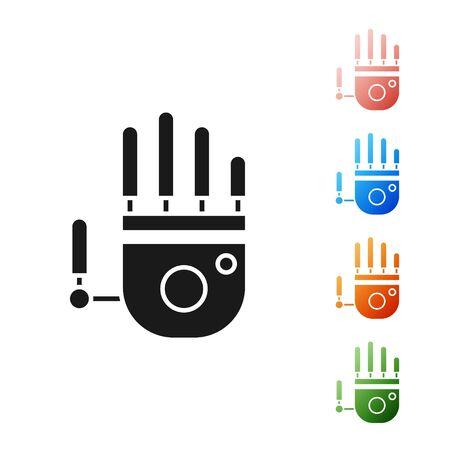 Ilustración de Black Mechanical robot hand icon isolated on white background. Robotic arm symbol. Technological concept. Set icons colorful. Vector Illustration - Imagen libre de derechos