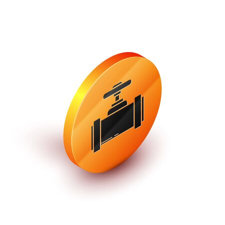 Illustration pour Isometric Industry metallic pipes and valve icon isolated on white background. Orange circle button. Vector Illustration - image libre de droit