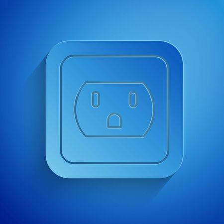 Ilustración de Paper cut Electrical outlet in the USA icon isolated on blue background. Power socket. Paper art style. Vector Illustration - Imagen libre de derechos