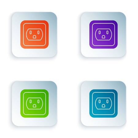 Ilustración de Color Electrical outlet in the USA icon isolated on white background. Power socket. Set icons in square buttons. Vector Illustration - Imagen libre de derechos
