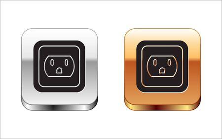 Ilustración de Black Electrical outlet in the USA icon isolated on white background. Power socket. Silver-gold square button. Vector Illustration - Imagen libre de derechos
