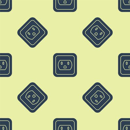 Ilustración de Blue Electrical outlet in the USA icon isolated seamless pattern on yellow background. Power socket. Vector Illustration - Imagen libre de derechos