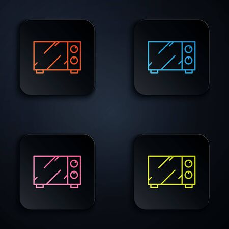 Color Neon Line Microwave Oven Icon