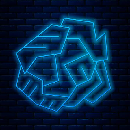 Illustration pour Glowing neon line Crumpled paper ball icon isolated on brick wall background. Vector Illustration - image libre de droit