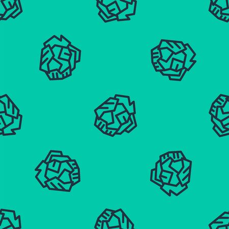 Illustration pour Blue line Crumpled paper ball icon isolated seamless pattern on green background. Vector Illustration - image libre de droit