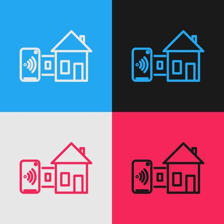 Illustration for Color line Smart home icon isolated on color background. Remote control. Vintage style drawing. Vector Illustration - Royalty Free Image