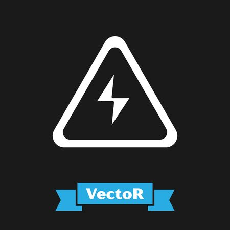 Illustration pour White High voltage sign icon isolated on black background. Danger symbol. Arrow in triangle. Warning icon. Vector Illustration - image libre de droit