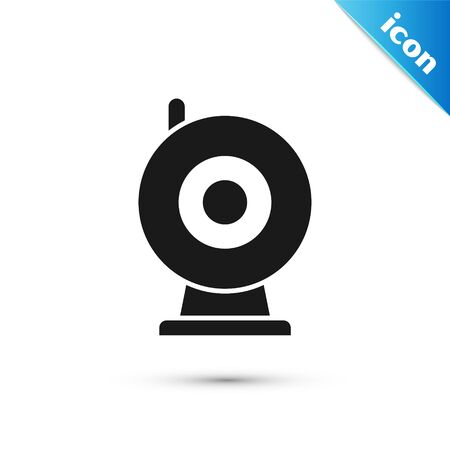 Illustration for Black Web camera icon isolated on white background. Chat camera. Webcam icon.  Vector Illustration - Royalty Free Image