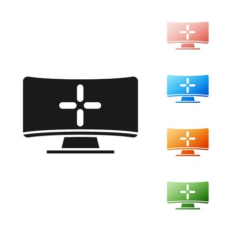 Illustration pour Black Computer monitor icon isolated on white background. PC component sign. Set icons colorful. Vector Illustration - image libre de droit