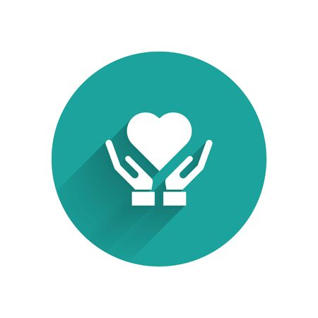 Illustration pour White Heart on hand icon isolated with long shadow. Hand giving love symbol. Valentines day symbol. Green circle button. Vector Illustration - image libre de droit