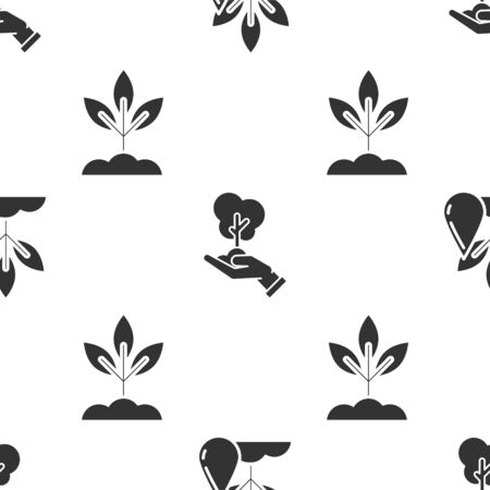 Illustration pour Set Watering plant, Tree in hand of environmental protection and Plant on seamless pattern. Vector - image libre de droit