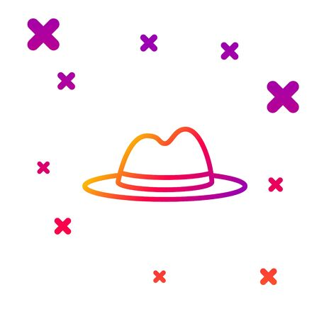 Illustration for Color line Man hat with ribbon icon isolated on white background. Gradient random dynamic shapes. Vector Illustration - Royalty Free Image