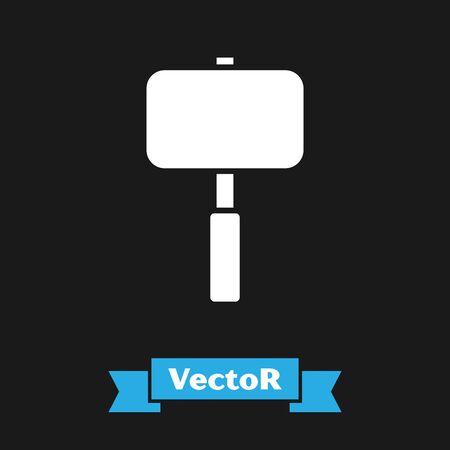 Illustration for White Sledgehammer icon isolated on black background. Vector Illustration - Royalty Free Image