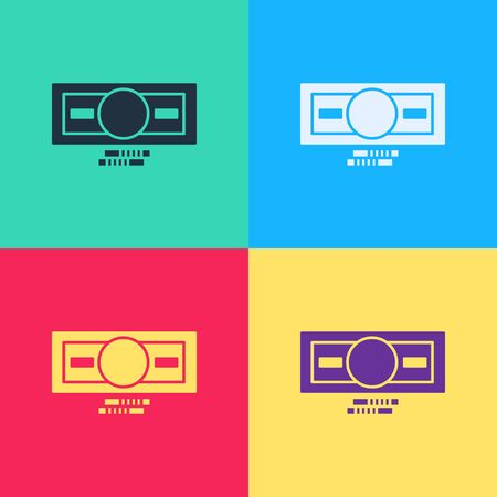 Illustration for Pop art Stacks paper money cash icon isolated on color background. Money banknotes stacks. Bill currency.  Vector Illustration - Royalty Free Image