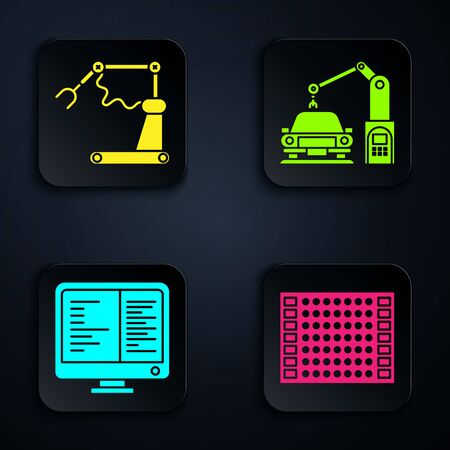 Illustration pour Set Printed circuit board PCB, Industrial machine robotic robot arm hand factory, Computer monitor screen and Industrial machine robotic robot arm hand. Black square button. Vector - image libre de droit