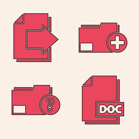 Illustration pour Set DOC file document, Next page arrow, Add new folder and Unknown document folder icon. Vector - image libre de droit