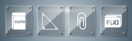 Ilustración de Set Function mathematical symbol, Paper clip, Triangle math and Book with word mathematics. Square glass panels. Vector - Imagen libre de derechos