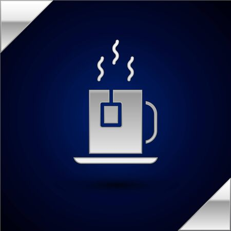Illustration pour Silver Cup of tea with tea bag icon isolated on dark blue background. Vector Illustration. - image libre de droit