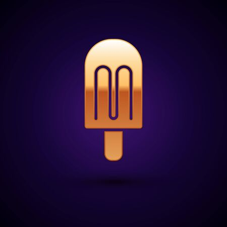 Illustration pour Gold Ice cream icon isolated on black background. Sweet symbol. Vector. - image libre de droit