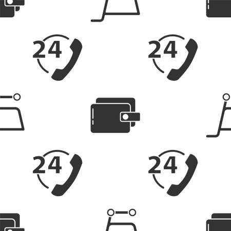 Illustration for Set Shopping cart, Wallet and Telephone 24 hours support on seamless pattern. Vector. - Royalty Free Image