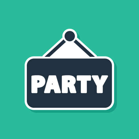 Illustration for Blue Signboard party icon isolated on green background. Vector - Royalty Free Image
