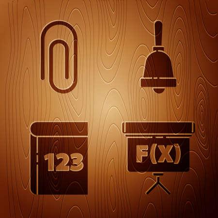 Ilustración de Set Chalkboard, Paper clip, Book with word mathematics and Ringing bell on wooden background. Vector - Imagen libre de derechos