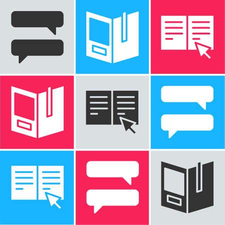 Illustration pour Set Speech bubble chat, Open book and Online book icon. Vector - image libre de droit