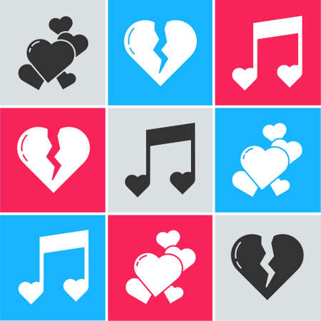 Illustration pour Set Heart, Broken heart or divorce and Music note, tone with hearts icon. Vector - image libre de droit