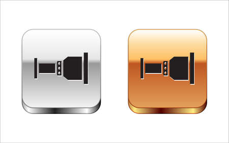 Illustration pour Black Pipe adapter icon isolated on white background. Plumbing pipeline parts of different shapes. Silver-gold square button. Vector - image libre de droit