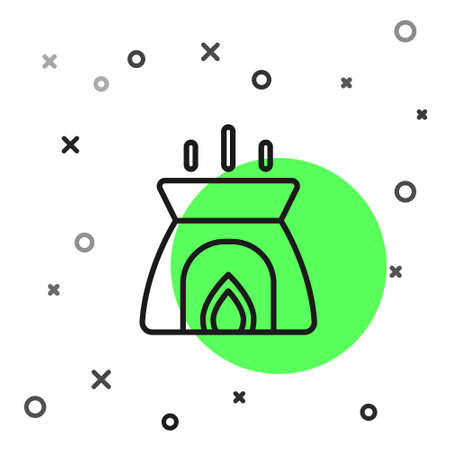 Illustration pour Black line Aroma candle icon isolated on white background. Vector - image libre de droit