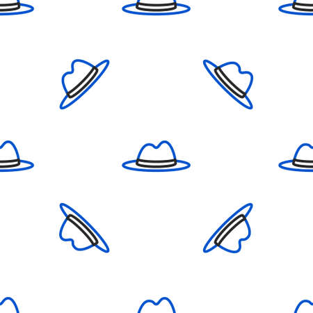 Illustration for Line Man hat with ribbon icon isolated seamless pattern on white background. Colorful outline concept. Vector - Royalty Free Image
