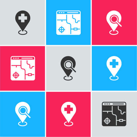 Illustration for Set Medical location with cross, Infographic of city map and Search icon. Vector - Royalty Free Image