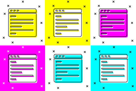 Illustration for Set Computer api interface icon isolated on color background. Application programming interface API technology. Software integration. Vector - Royalty Free Image