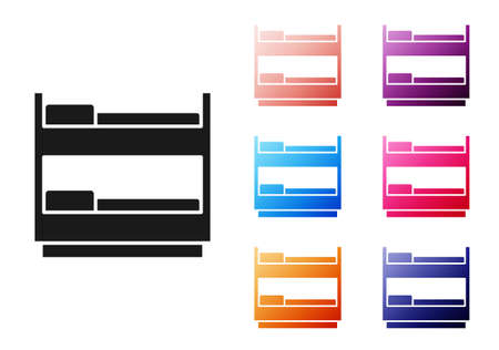 Illustration pour Black Bunk bed icon isolated on white background. Set icons colorful. Vector - image libre de droit