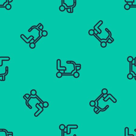 Illustration pour Blue line Electric wheelchair for disabled people icon isolated seamless pattern on green background. Mobility scooter icon. Vector - image libre de droit