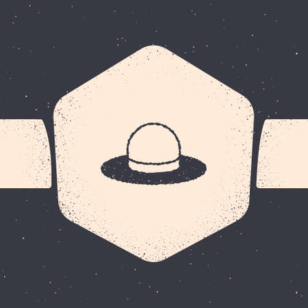 Illustration for Grunge Man hat with ribbon icon isolated on grey background. Monochrome vintage drawing. Vector - Royalty Free Image