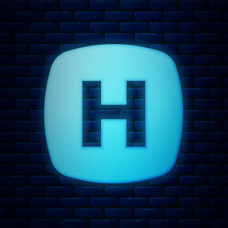 Illustration pour Glowing neon Hospital signboard icon isolated on brick wall background. Vector - image libre de droit