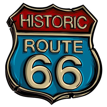Illustration pour Vintage road sign route 66 vector. American advertising symbol. - image libre de droit