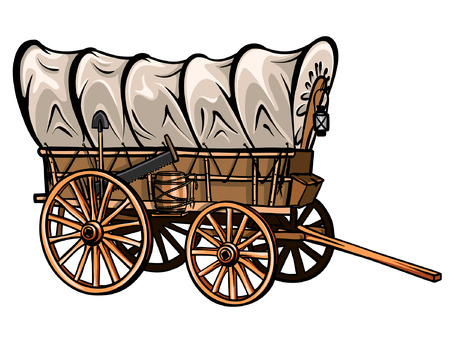Illustration pour Wild west style wood covered wagon with barrel, shovel, saw and lantern. Hand-drawn western vector. - image libre de droit