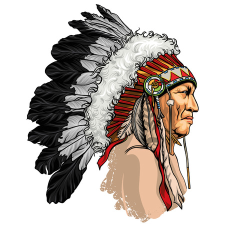 Illustration pour Detailed, hand drawn, native american sitting bull vector portrait. Headdress with feathers indian chief of tribe. - image libre de droit